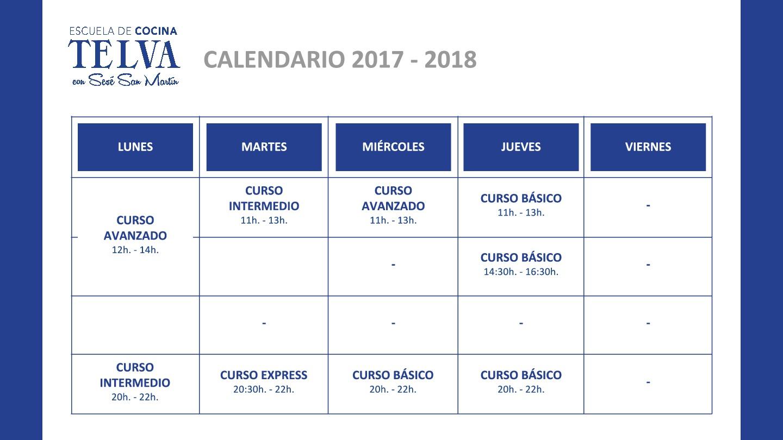 Escuela de Cocina TELVA - Calendario cursos cuatrimestrales de cocina - Curso técnicas express