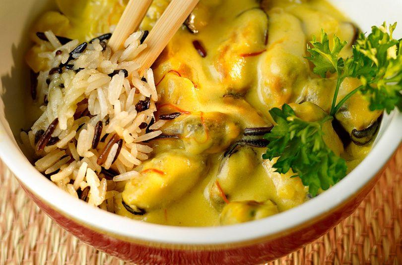 Mejillones a la crema con arroz salvaje