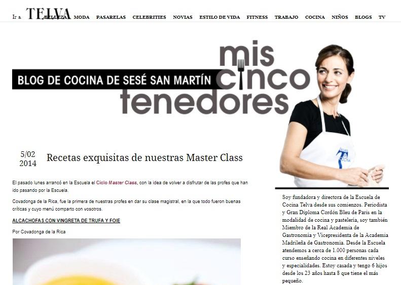 Master Class de cocina de la Escuela de cocina TELVA