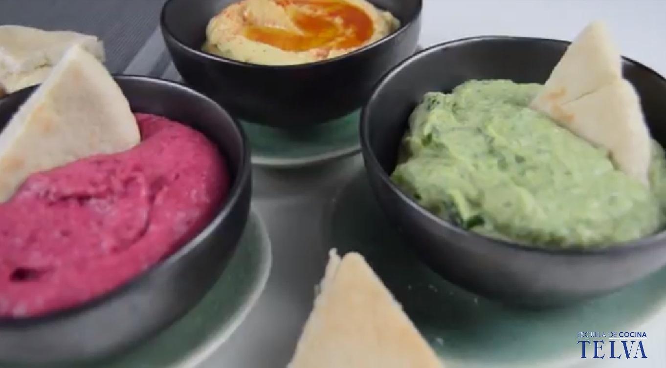 Trío de hummus - Receta TELVA - Escuela de cocina TELVA - Recetas TELVA - Cocina TELVA - Recetas que salen