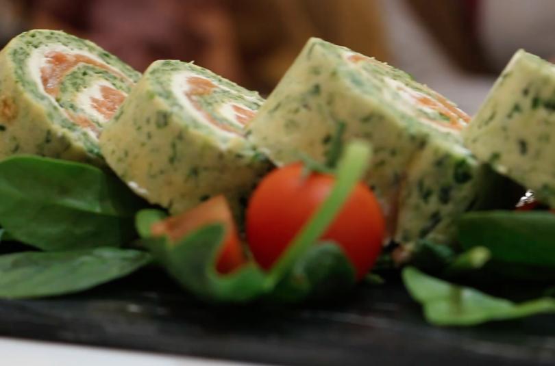 Roulada de espinacas y salmón