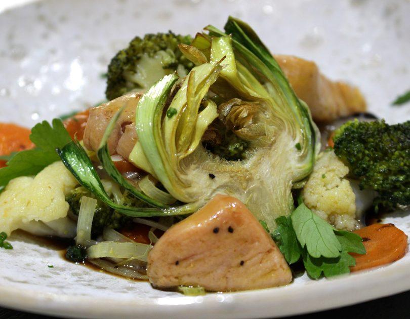 Ensalada templada de verduras con vinagreta de Pedro Jiménez