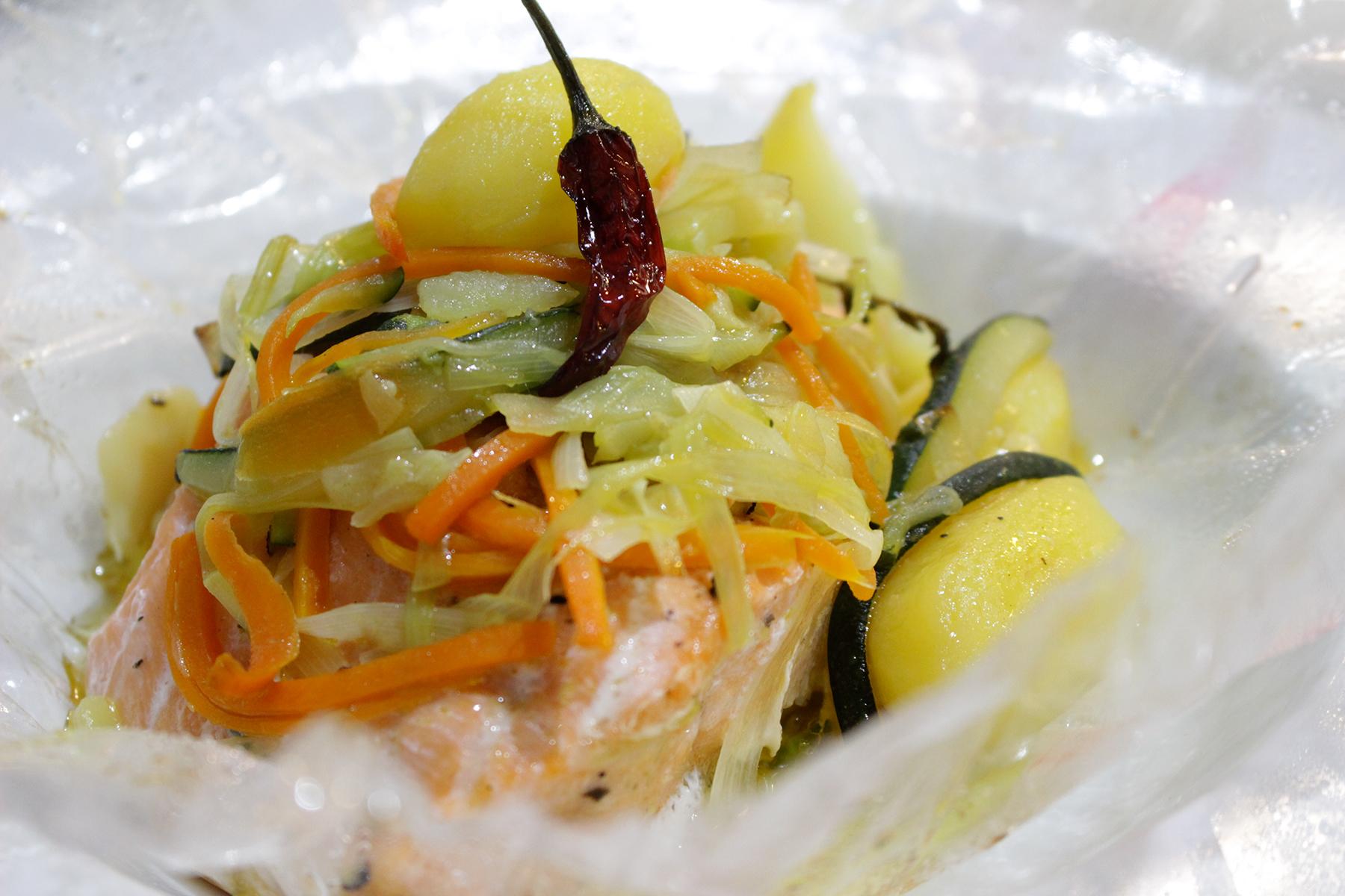 Receta pescado en papillote Escuela de Cocina TELVA